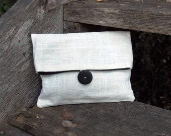 White Linen Clutch