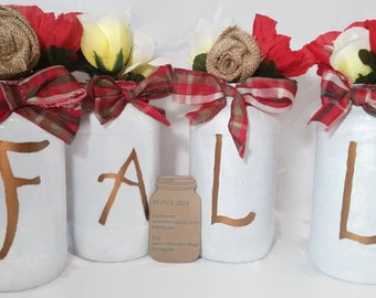Fall Decor- Home Decor- Upcycled Jars- Painted Jars- Fancy Jars- Fall Decoration- Painted Glass- Autumn Decor - Rustic Home Decor