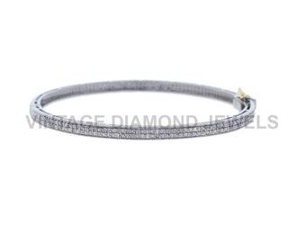 Pave Diamond Bracelet, 14k Gold Open Bracelet, .925 Silver Bracelet, Natural Diamond Designer Bangle Women's Jewelry VDJBA-19928