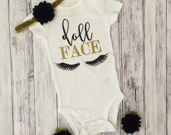 Doll face bodysuit, doll face, doll, baby bodysuit, black and gold, glitter, toddler, toddler shirt, doll shirt