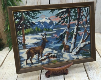 Deer in the Snow - Needle Point, Mountain Cabin Decor, Lodge Decor Winter Landscape, Cabin Wall Art, Deer Hunting Decor, Rustic Wall Decor