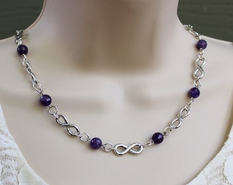 Infinity Single Strand Beaded Necklace.Purple Amethyst Gemstone.Metal plate in Sterling Silver.Choker.Statement Necklace.Valentine.Handmade.
