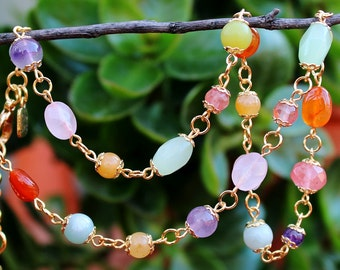 Multi Gemstone Beaded Necklace.Semi Precious.Cherry Quartz.Rose Quartz.Purple Amethyst.Amazonite.Orange Carnelian.Yellow Jade. Handmade.