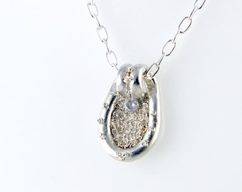 Silver 999 and Zircon pendant with chain Silver 925