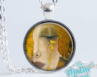 Freya's Tears Gustav Klimt Crying Woman Fine Art Jewelry Pendant