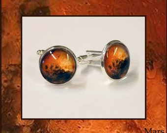 Mars Cufflinks presented in a stylish square box with quality descriptive photo card