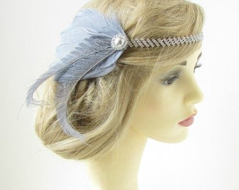 Grey & Silver Feather Headband 1920s Great Gatsby Flapper Headpiece Vintage 178
