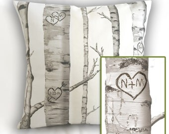 Love, Carved in Birch Personalized Heart Pillow