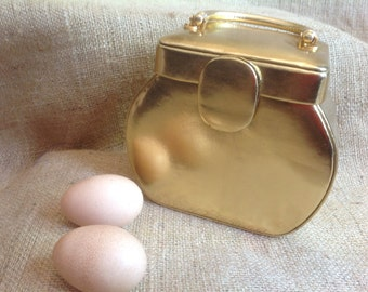 Gold Lame Hand Bag with Handle