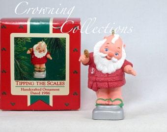 1986 Hallmark Tipping the Scales Keepsake Ornament Santa Claus Weighing in Cookie Bathroom Scales Diet Vintage Christmas