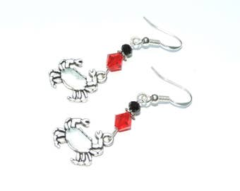 Crab Charm Red Black Swarovski Crystal Earrings - Sterling Hooks - Baltimore