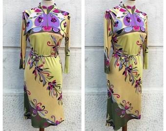 EMILIO PUCCI - 60/70s Emilio Pucci Dress - Emilio Pucci Silk Jersey Dress - Vintage Pucci Dress Size M