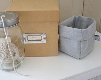 Mini Linen Grey Fabric Bin or Basket.  Fun fabric bucket for Bathroom Storage, Stationary Storage !