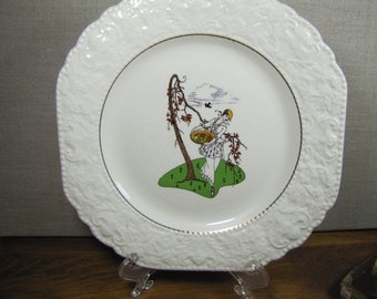 Burleigh Staffordshire - Painted Lady Plate - Embossed Rim - Square Shape -Lady With Fruit Basket