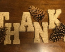 Twine/Jute wrapped wood letters