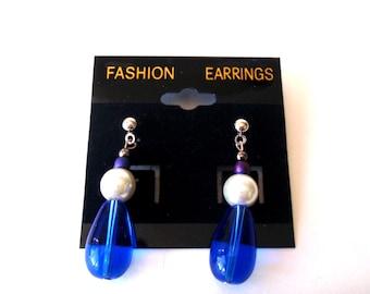 Dark Blue Dangle Earrings