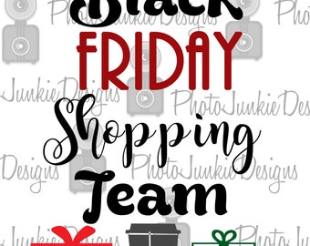 Cuttng File Black Friday Shopping team  SVG PNG  DXF digtal Files