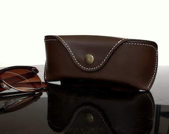 Glasses case for Wayfarers Clubmasters Sunglasses case Veg tan Leather Chocolate brown  Handcrafted by Celyfos ®