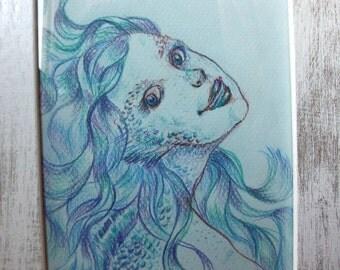 Blue Mermaid - original drawing