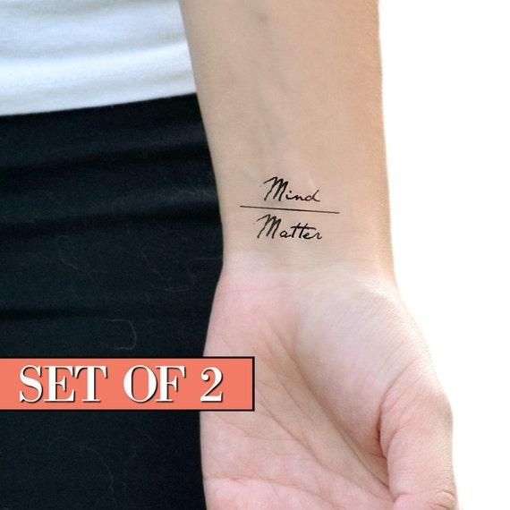 e8db8425b645b 2pcs C'est La Vie Heart Pulse Tattoo Temporary Quote Tattoos: Mind Over  Matter Temporary Tattoo / Quote Temporary Tattoo