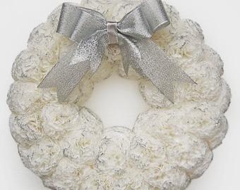 White christmas wreath, Xmas wreath, White Christmas decor, Winter wreath, White paper wreath- Christmas decoration, White and silver wreath