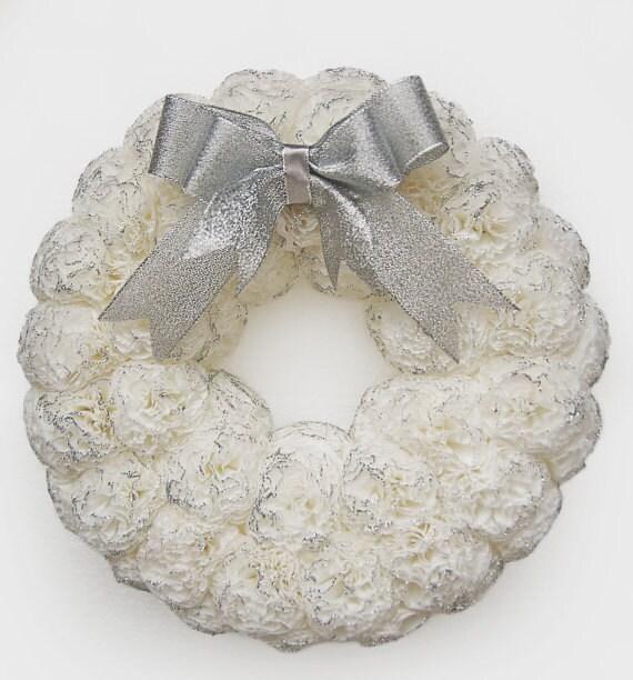 White christmas wreath Xmas wreath White Christmas decor