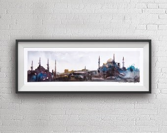 Istanbul Panorama watercolor painting art print