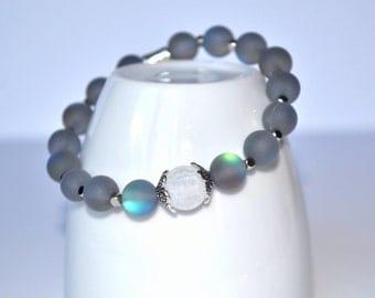 Moonstone and Ice Quartz Beaded Bracelet. Stretch bracelet, gift for her, women's bracelet, elastic bracelet, blue bracelet, silver