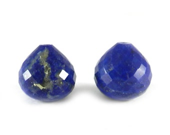 On sale - 2 pcs - Lapis lazuli - Onion shape - drop facet - 14mm - with 1mm top drill hole - For jewelry making - gemstone - SHST0405