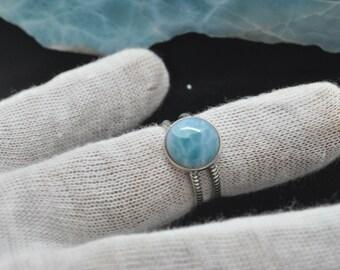 Genuine 100% Natural Ocean Blue Dominican 10mm  Larimar Ring Size 6 #70