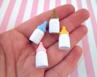 4 Multicolor Baby Bottle Cabochons Baby Shower Favors, #784