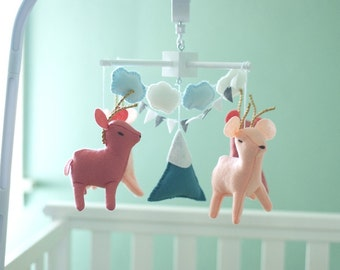 Baby deer mobile, baby crib mobile, woodland mobile, tribal mobile,  baby boy mobile, neutral baby mobile, snowy mountain mobile
