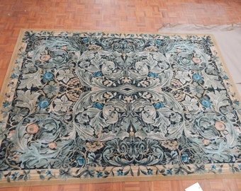 Spanish Green Gold Blue Wool Area Rug Vintage
