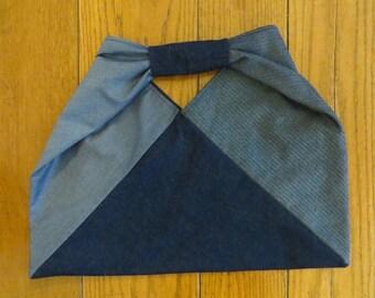 Denim origami bag, triangle bag, denim tote bag, denim slouch bag, Japanese-style bag, boho bag