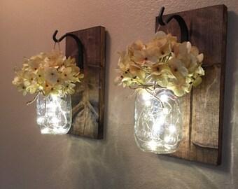 Rustic Home Decor, Home & Living, Set of 2 Hanging Mason Jar Sconces with Hydrangeas, Mason Jar Decor, Lighted Mason Jars, Mason Jar Sconces