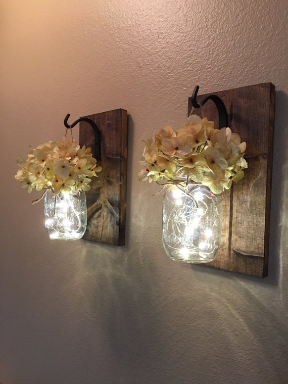 Set Of 2 Hanging Mason Jar Sconces Hydrangea Flowers Mason
