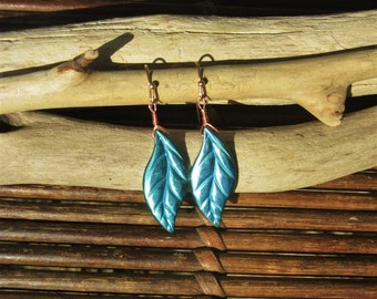 Turquoise Feather/Leaf Hematite Earrings