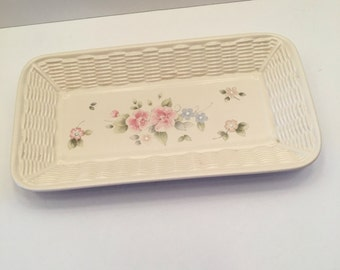 Pfaltzgraff Tea Rose Serving Platter ~ Bread Tray ~ Vintage
