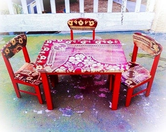 SOLD - Vintage, Kid's Table & Chair Set, red, shabby chic children's table and chairs set, farmhouse, country cottage, wood, french country