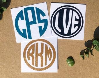 Free Shipping* Glitter Monogram Decal Circle Monogram Sticker Custom Car Decal Laptop Decal Phone Decal Initials Wedding Water Bottle