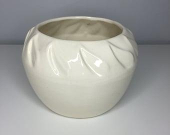 vintage white California USA ceramic planter