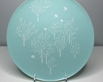 """vintage blue 10.5"""" plate by Lucent Dinnerware, designed by Raymond Loewy"""