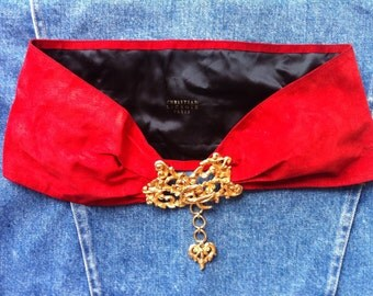 SALE! gorgeous Christian Lacroix red suede belt, golden barocco buckle, black silk lining