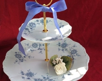 Wedding 2 TIER CAKE STAND China Tiered Serving Tray Sale Christina Bavaria Blue