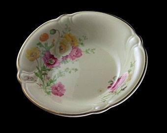 Fruit Bowl, Dessert Bowl, TST (Taylor Smith Taylor), Ivory, Floral, Gold Trimmed