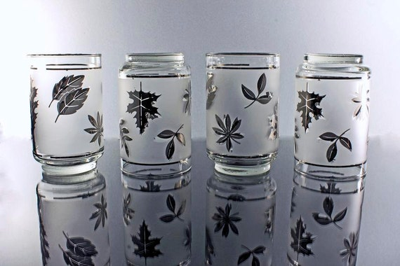 Drinking Glasses, Libbey-Rock Sharpe, Silver Leaf Pattern, Set of 4, Frosted Glassware, Tumblers, Frosted Barware