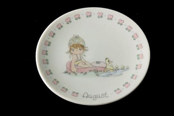 Precious Moments Mini Plate, August Birthday Plate