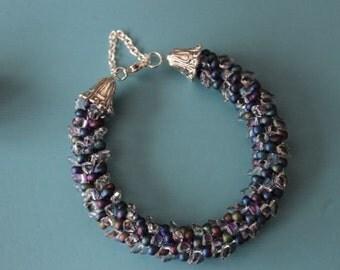 Kumihimo armband, Miyuki kraal crystal/blauw/paars/groen