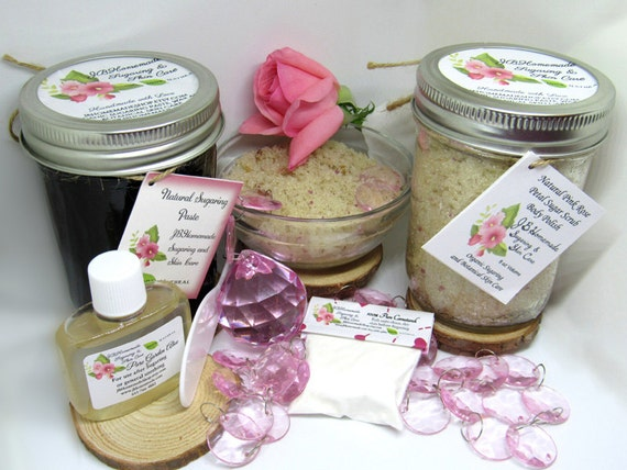 Sugaring Paste & Pink Rose Petal Sugar Scrub Bundle