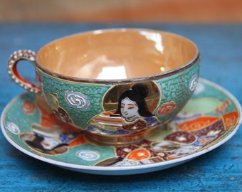 GAME of Cup and SATSUMA porcelain plate